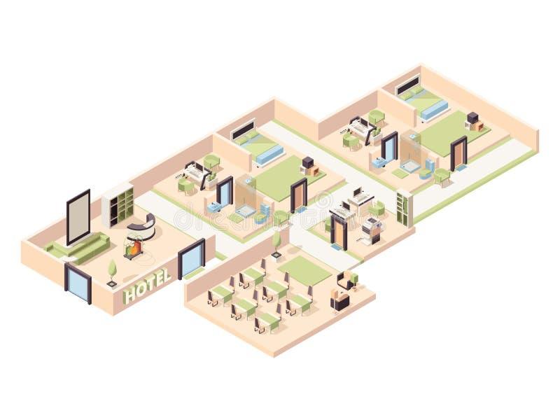 Hotel interior. Modern luxury hotel rooms lounge zone pool comfortable restaurant bathroom parking vector isometric royalty free illustration