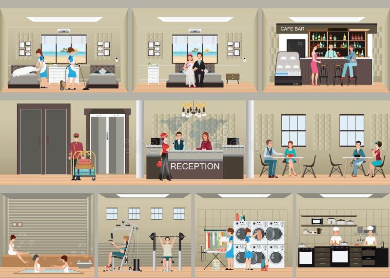 Hotel interior set with reception. Hotel interior set with reception ,rooms, restaurant , laundry, cafe, sauna and gym, flat design vector illustration vector illustration