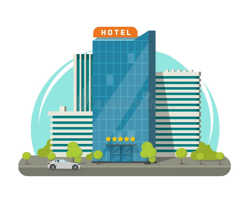 Hotel isolated on city street vector illustration, flat modern skyscraper hotel building near road vector illustration