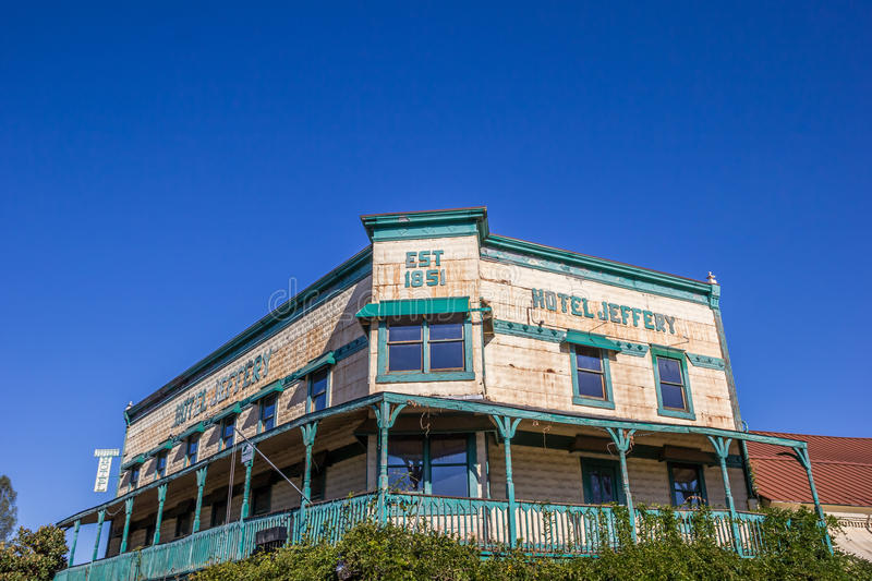 Hotel Jeffery at Main street Couterville, California royalty free stock photos