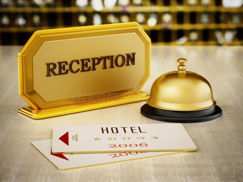 Hotel key card, bell and reception sign on hotel front desk. 3D illustration royalty free illustration