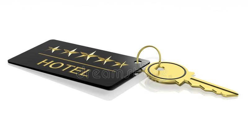 Hotel key with label royalty free illustration