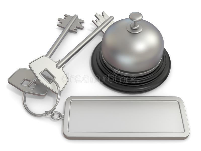 Hotel key with rectangular blank label on ring and reception bell. 3D royalty free illustration