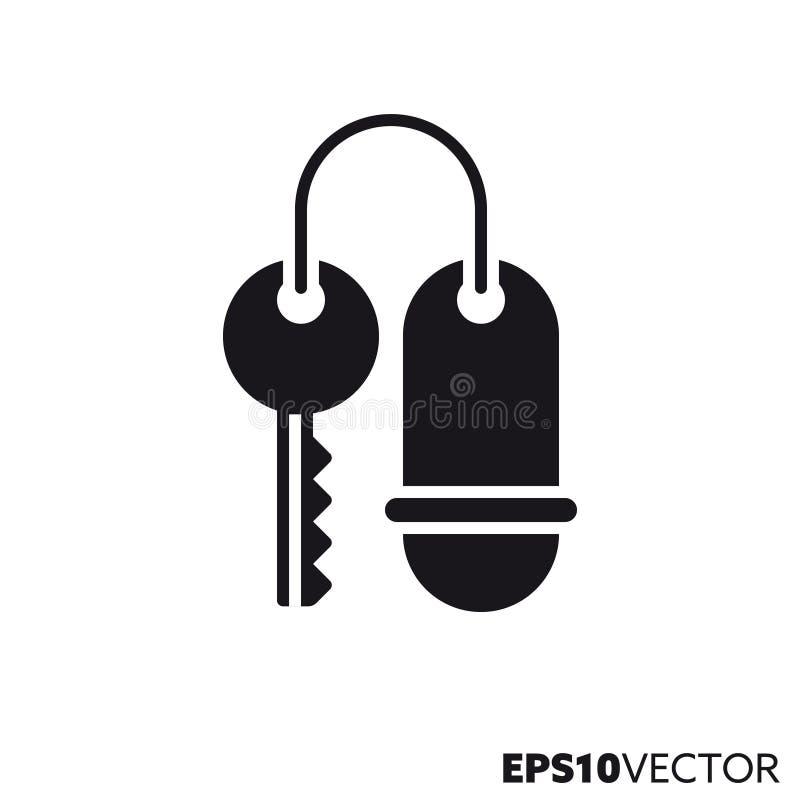 Hotel key vector glyph icon. Hotel key solid black icon. Glyph symbol of travel and accommodation. Flat vector illustration royalty free illustration
