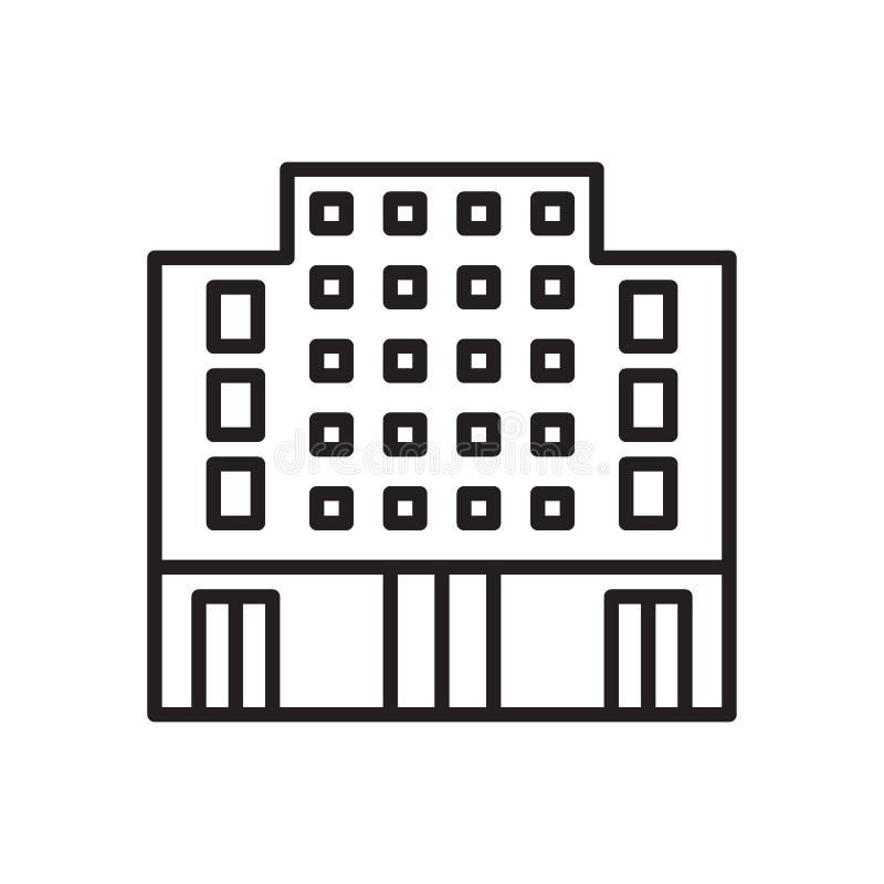 Hotel, línea icono, muestra del vector del esquema, pictograma linear del centro turístico del estilo aislado en blanco libre illustration