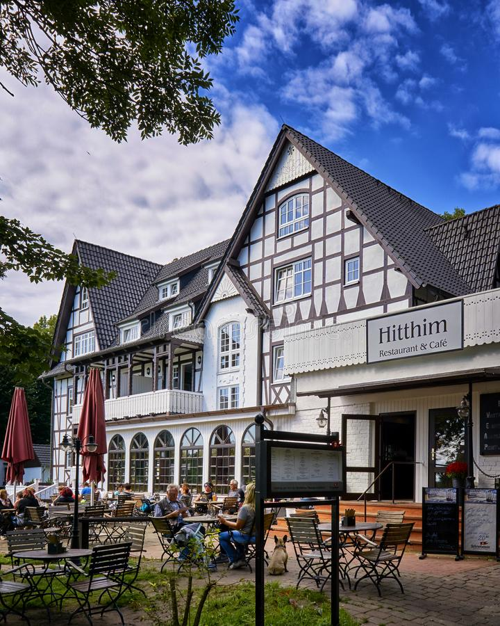 Hotel in a large half-timbered house in Kloster on the island Hiddensee. Building, architecture, tourism, accommodation, amazing, vacation, ancient, street royalty free stock photos