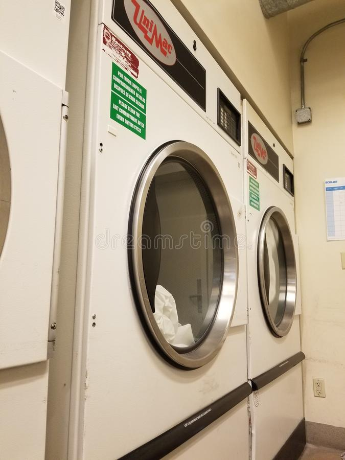 Hotel Laundry room industrial dryers royalty free stock photos