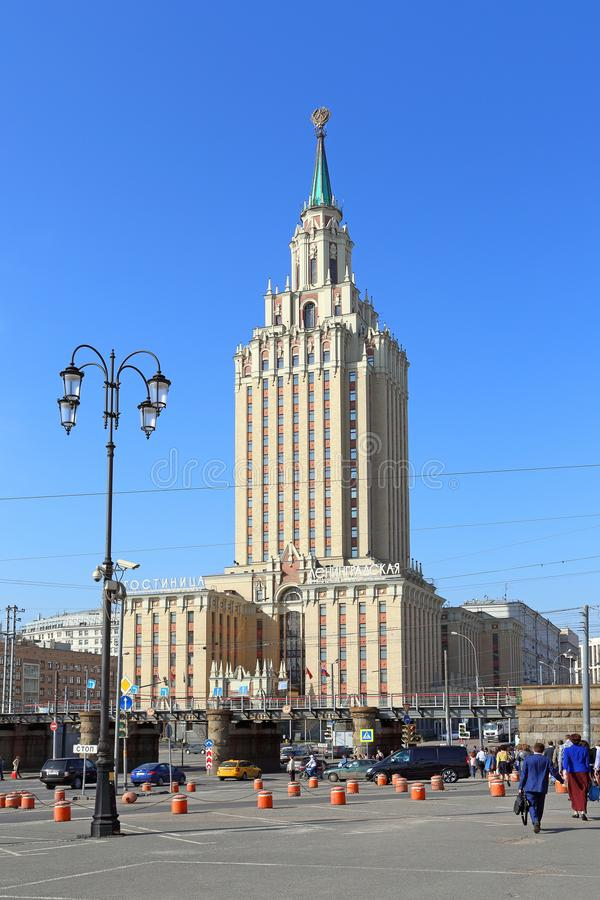 The hotel in Leningradskaya on the background of blue sky in Mos royalty free stock photos