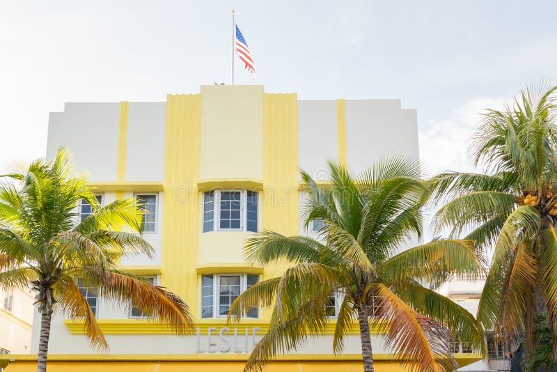 Hotel Leslie del art déco en Miami Beach, la Florida foto de archivo