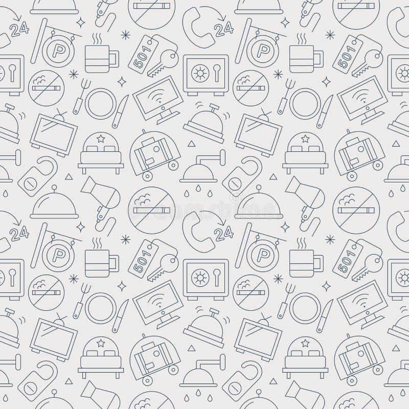 Hotel line icon pattern set royalty free illustration