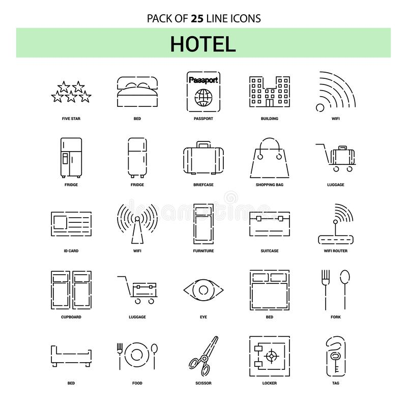 Hotel Line Icon Set - 25 Dashed Outline Style royalty free illustration
