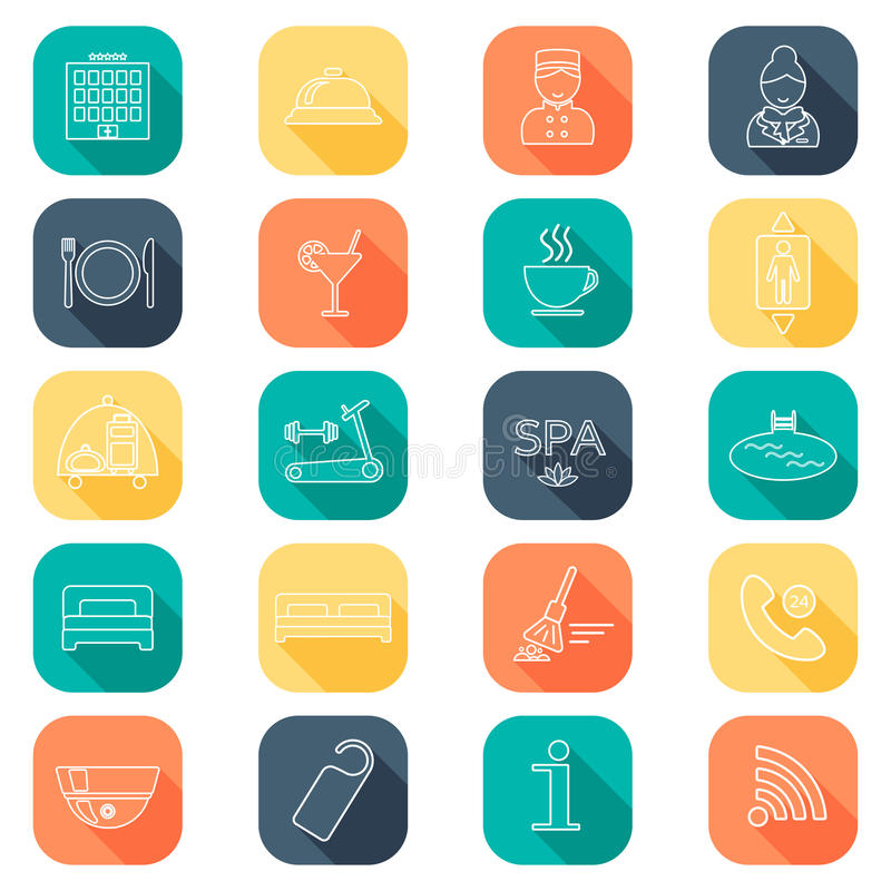 Hotel line icons set. Hotel glyph. Buttons with shadow. Flat color. Vector stock illustration