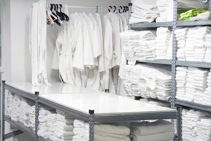 Laundry hotel cleaning services. Hotel linen cleaning services. Hotel laundry stock photos