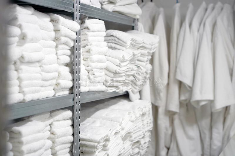 Laundry hotel cleaning services. Hotel linen cleaning services. Hotel laundry stock images