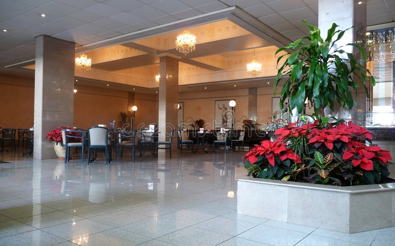 Hotel lobby. Modern hotel lobby with marble floor royalty free stock images