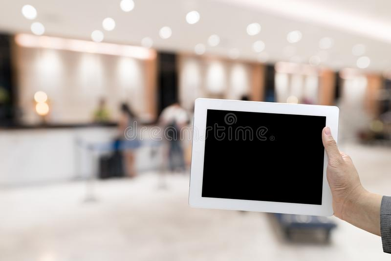 Hotel lobby blurred background stock photography