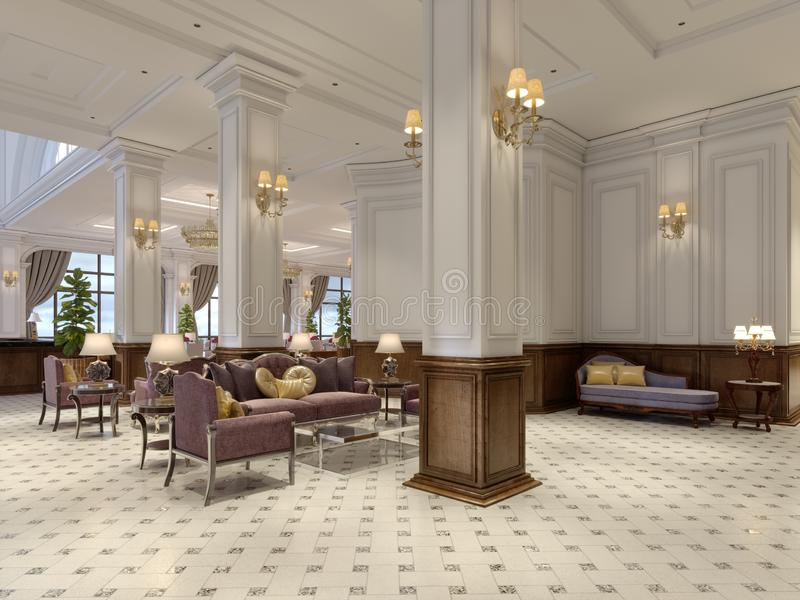 Hotel lobby in classic style with luxurious art deco furniture and mosaic tile hall. 3d rendering royalty free illustration