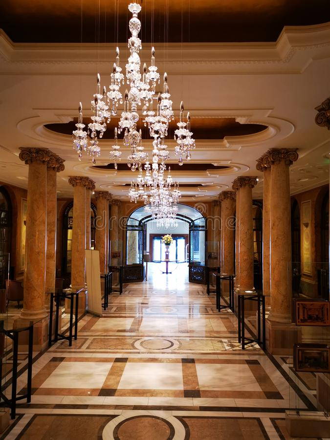Hotel lobby - corridor with marble pillars royalty free stock image