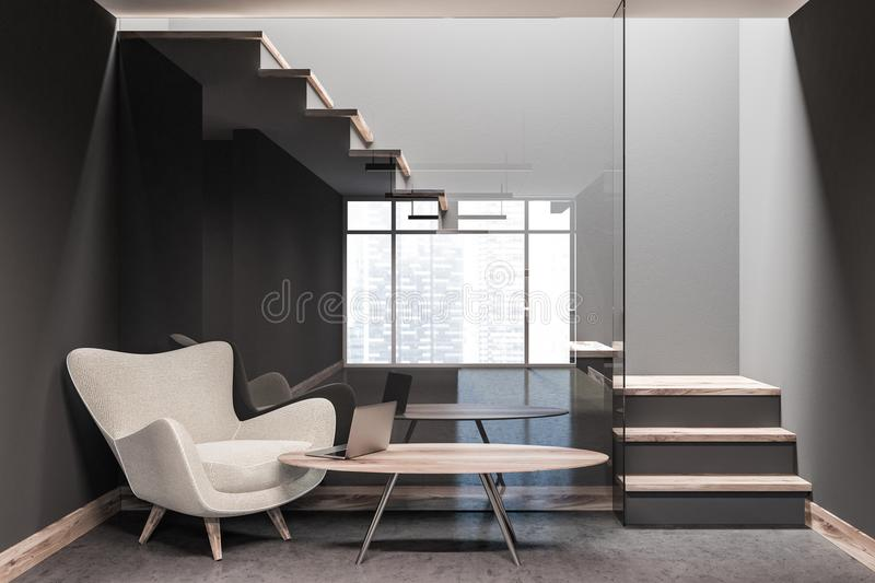 Hotel lobby, armchair and table, stairs vector illustration