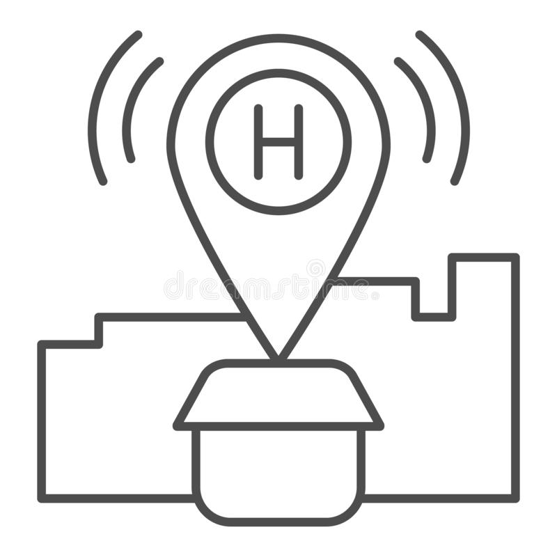 Hotel location thin line icon. Map pin with house vector illustration isolated on white. Hotel gps outline style design vector illustration