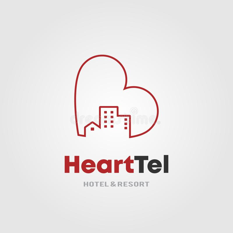 Hotel Logo Template del corazón con el corazón y el concepto de diseño del edificio del alojamiento de hotel para el hotel y el c stock de ilustración