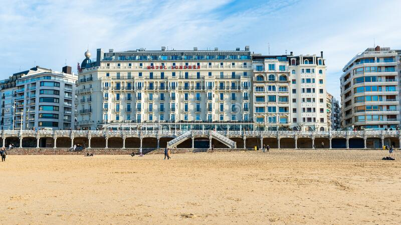 Hotel Londres i San Sebastian, Spanien arkivfoton
