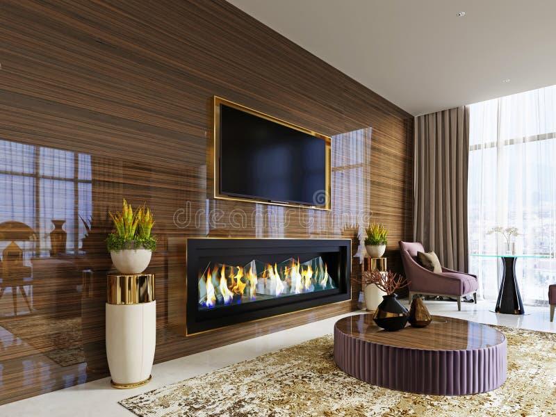 Hotel luxuoso da entrada do desenhista com uma chaminé e um aparelho de televisão construídos em uma parede de madeira lustrosa c ilustração do vetor