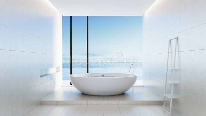 Hotel luxuoso e moderno do banheiro da praia - ilustração do vetor