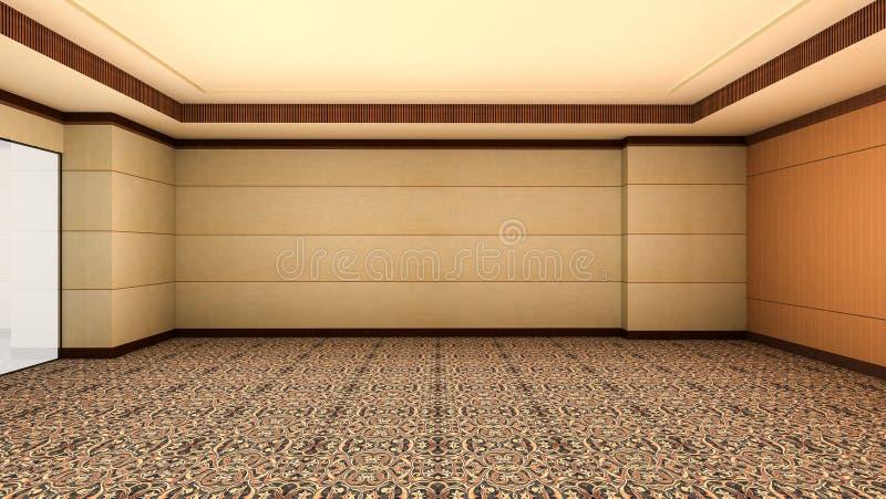 Hotel-Luxusinnenart des leeren Raumes hölzerne 3d übertragen lizenzfreie abbildung
