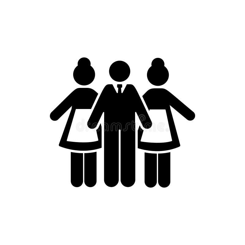 Hotel, mężczyzna, dziewczyna, usługa, praca, pracy ikona Element hotelowa piktogram ikona Premii ilo?ci graficznego projekta ikon royalty ilustracja