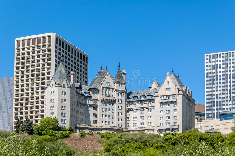 Hotel MacDonald. Built in 1915, Hotel MacDonald is Edmonton's most famous landmark hotel along the Saskatchewan river stock photos