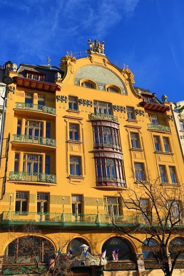 Hotel magnífico Evropa, edificios viejos, cuadrado de Wenceslav, nueva ciudad, Praga, República Checa foto de archivo