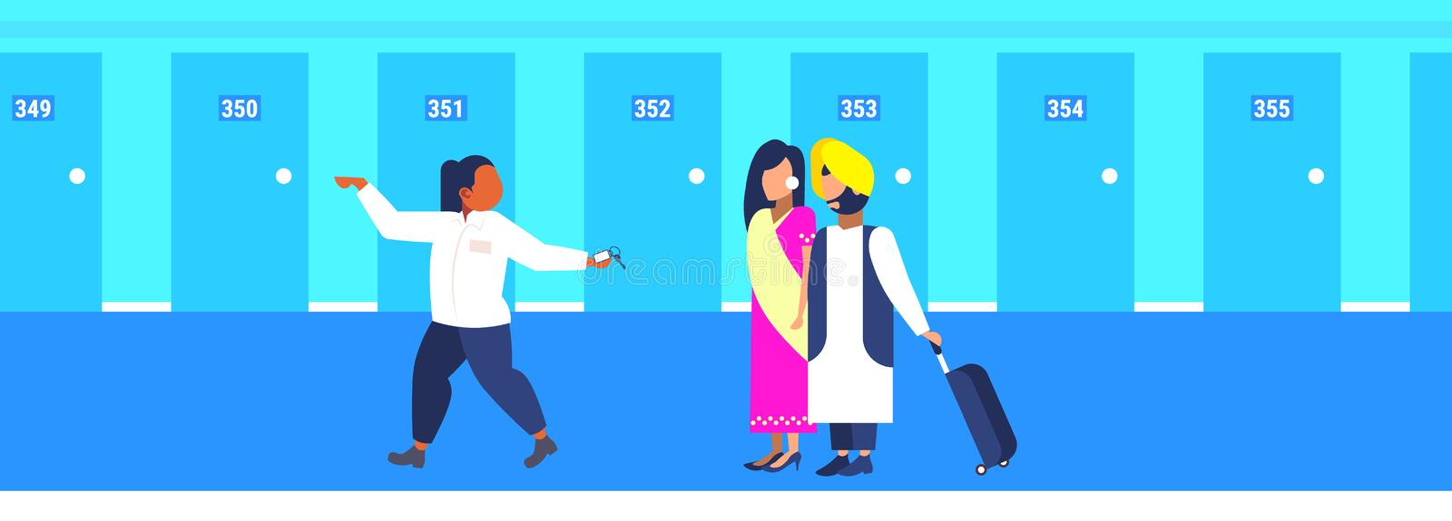 Hotel manager leading indian guests hospitality staff concept receptionist showing room welcoming arriving man woman. Tourists couple in traditional clothes royalty free illustration