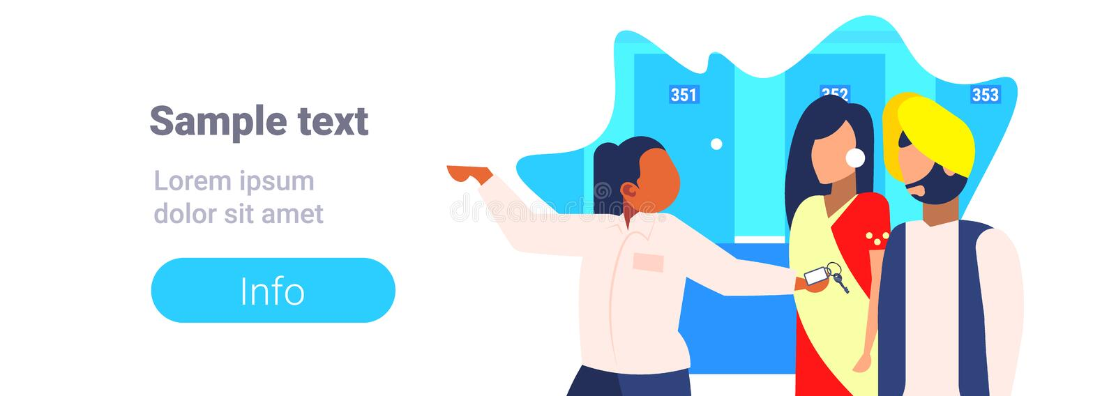 Hotel manager showing room indian guests hospitality staff concept receptionist welcoming arriving man woman tourists. Couple in traditional clothes copy space royalty free illustration