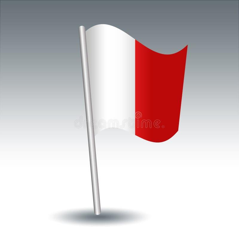 Hotel marítimo de la bandera de señal del vector H en color blanco y rojo inclinado del polo de la plata del metal - símbolo del  stock de ilustración