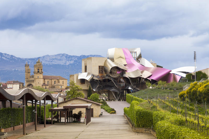 Hotel Marqués de Risca by Frank Gehry. Elciego, Spain - May 18, 2013: Hotel Marqués de Risca. Masterpiece created by Frank Gehry is one of the most royalty free stock photography
