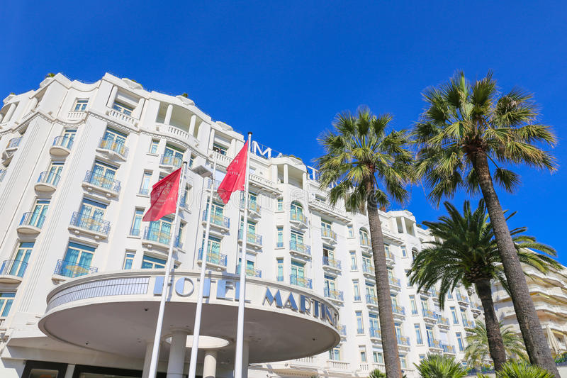 Hotel Martinez di Grand Hyatt Cannes a Cannes al Croisette immagine stock libera da diritti