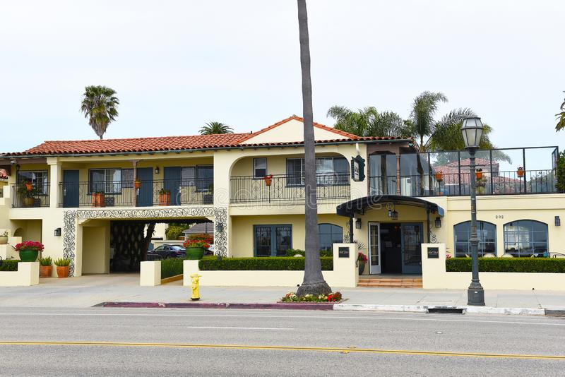 Hotel Milo on Cabrillo Boulevard is across from West Beach and Stearns Wharf royalty free stock image