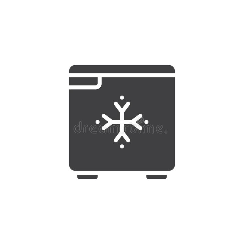 Hotel fridge icon vector. Hotel mini fridge icon vector, filled flat sign, solid pictogram isolated on white. Symbol, logo illustration royalty free illustration