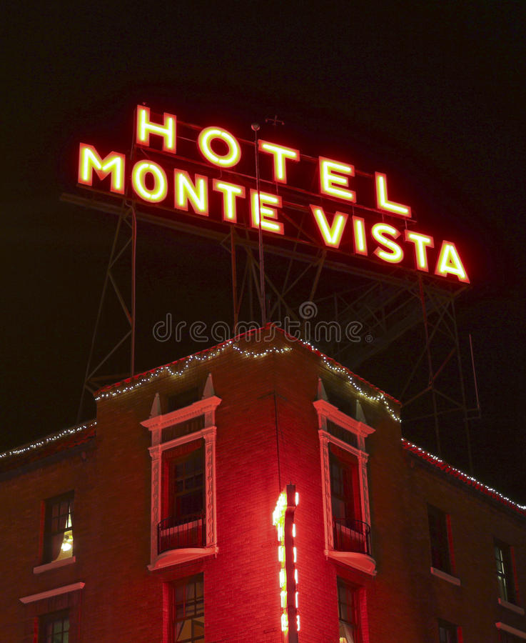 A Hotel Monte Vista Sign at Night royalty free stock photo