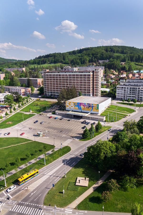 Hotel Moskva en Namesti Prace en Zlin, Rep?blica Checa fotografía de archivo libre de regalías