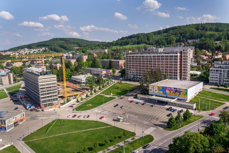 Hotel Moskva en Namesti Prace en Zlin, Rep?blica Checa fotos de archivo
