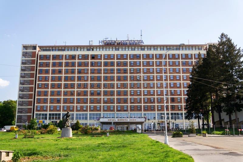 Hotel Moskva su Namesti Prace in Zlin, repubblica Ceca immagini stock libere da diritti