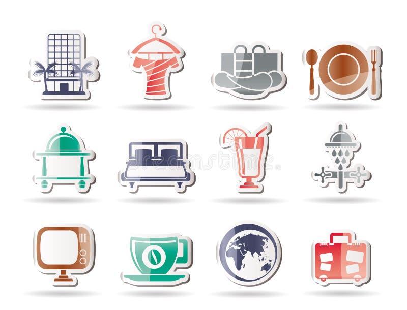 Hotel, motel e iconos de los días de fiesta ilustración del vector