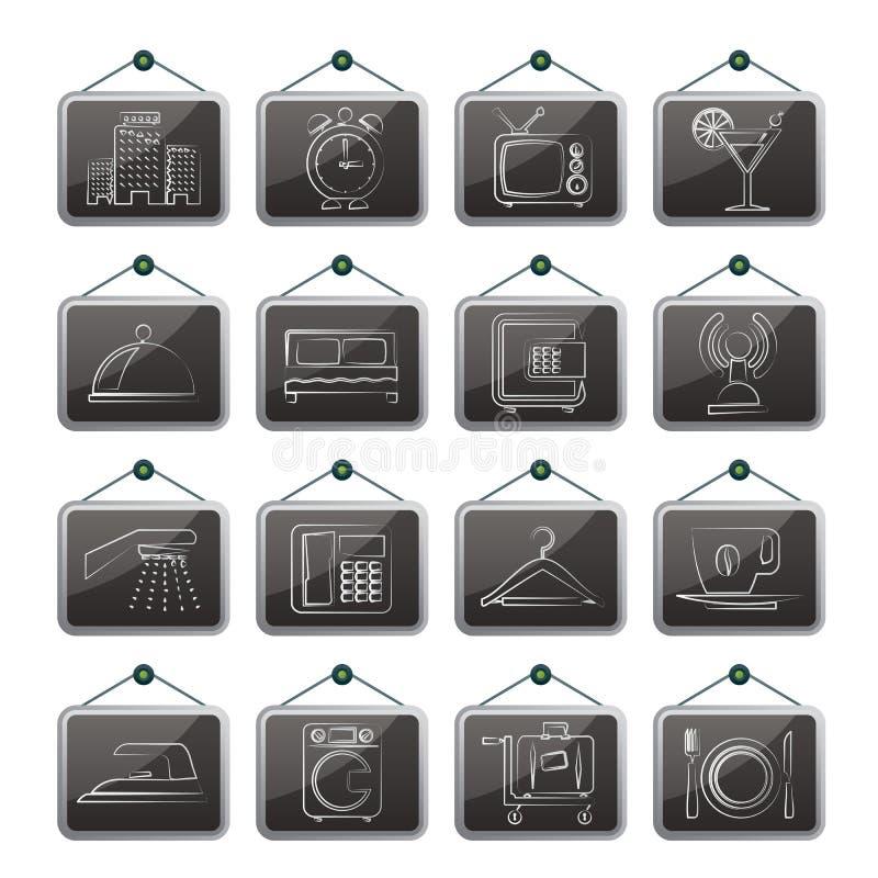Hotel, motel e iconos del viaje libre illustration
