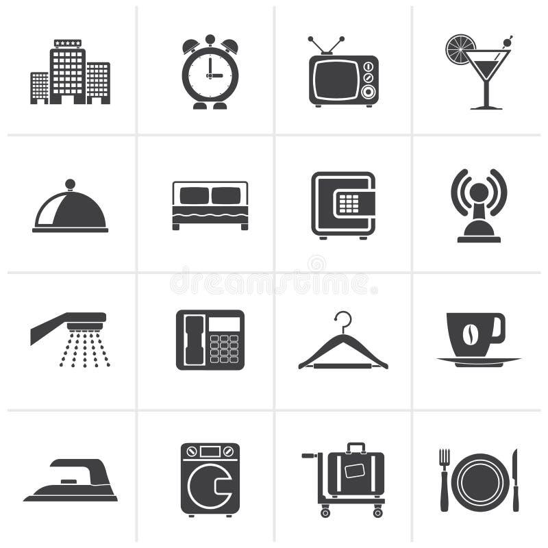 Hotel, motel e iconos negros del viaje stock de ilustración