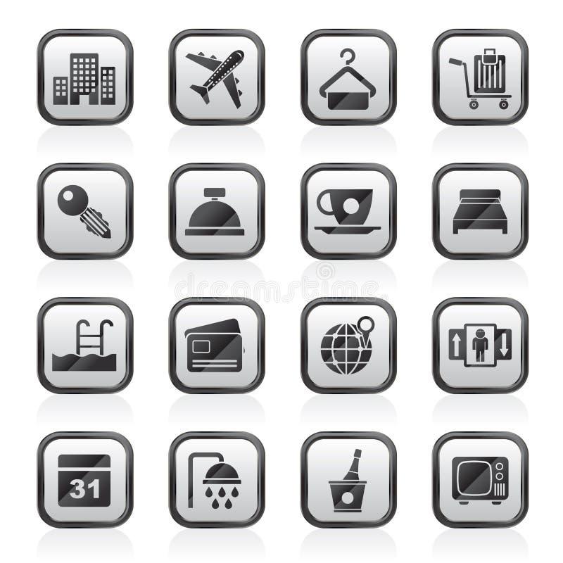 Hotel, motel ed icone di viaggio illustrazione vettoriale