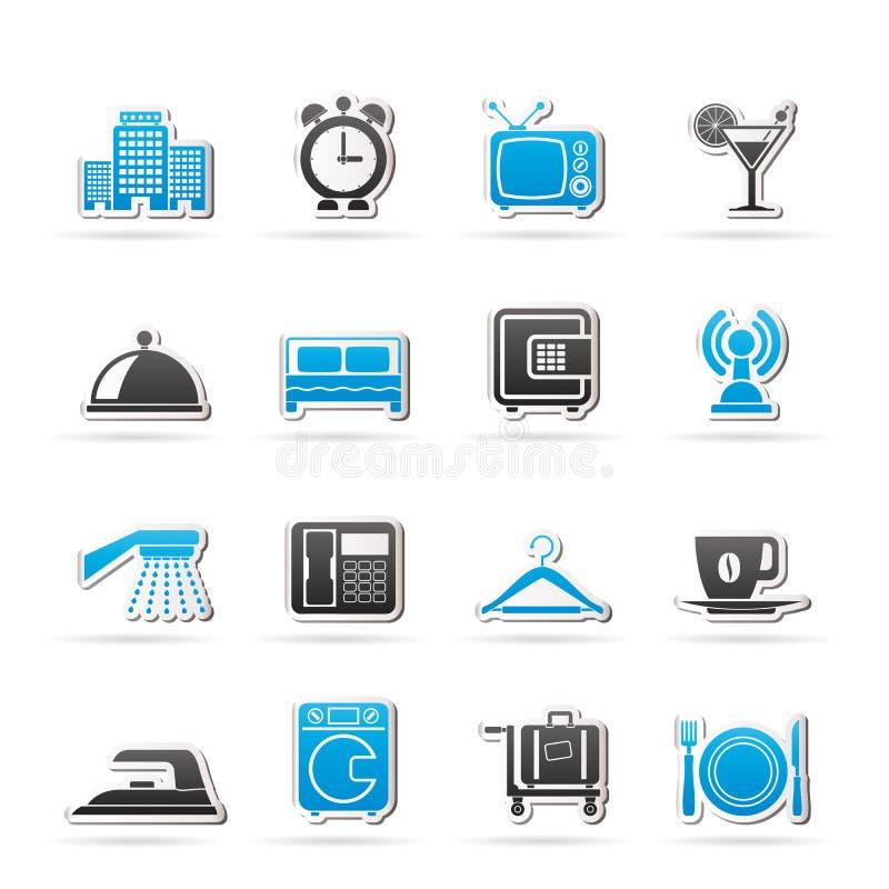 Hotel, motel ed icone di viaggio royalty illustrazione gratis