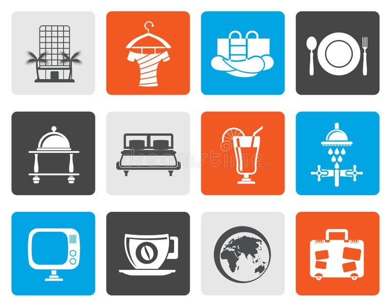 Hotel, motel ed icone piani di feste illustrazione di stock