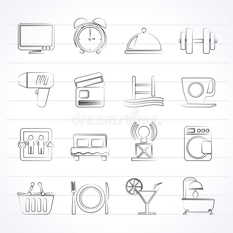 Download Hotel And Motel Facilities Icons Stock Vector - Image: 37653723